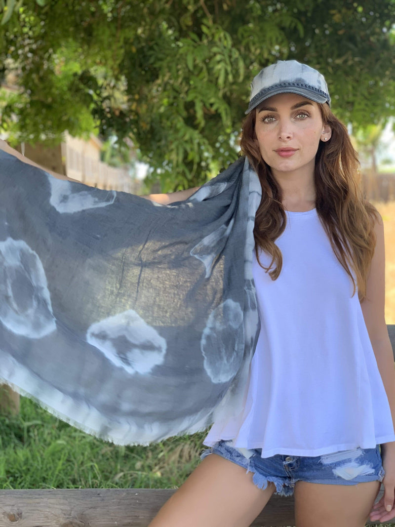 Tie Dye Slate Hat And Scarf Set - Eva Franco
