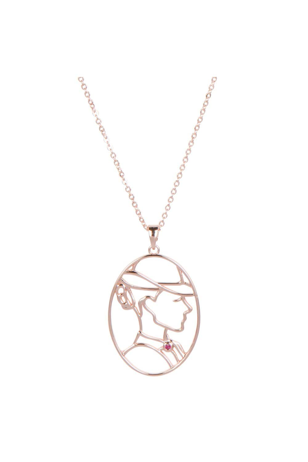 Eva Franco Necklace Lady Portrait Rose Gold Necklace