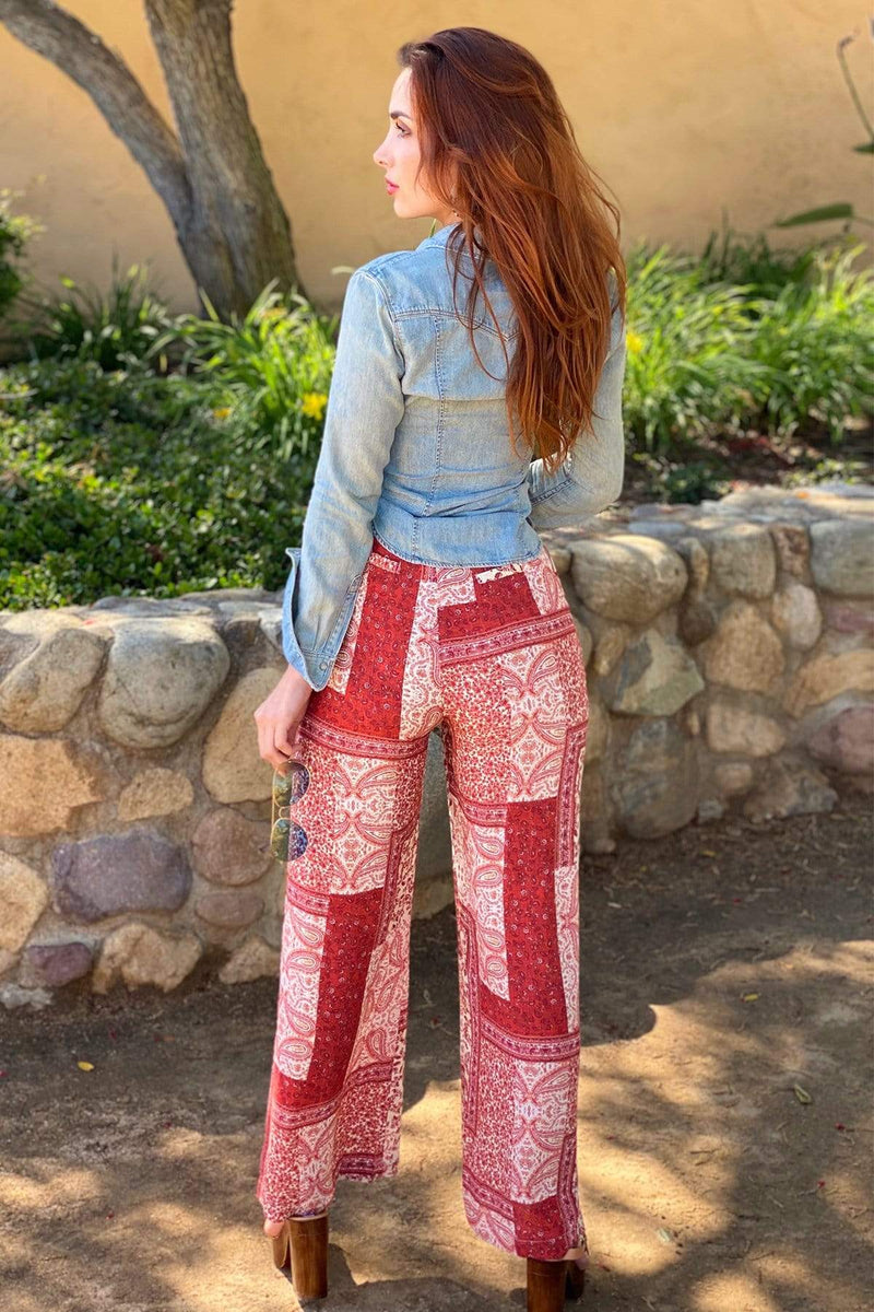 Elena Patchwork Wide-Leg Pants - Eva Franco