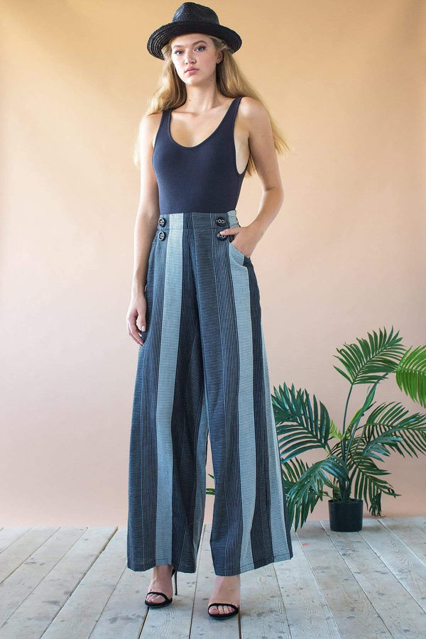 Hepburn High Waist Wide Leg Pants - Graphite Stripe - Eva Franco