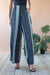 Eva Franco Pants Hepburn High Waist Wide Leg Pants - Graphite Stripe