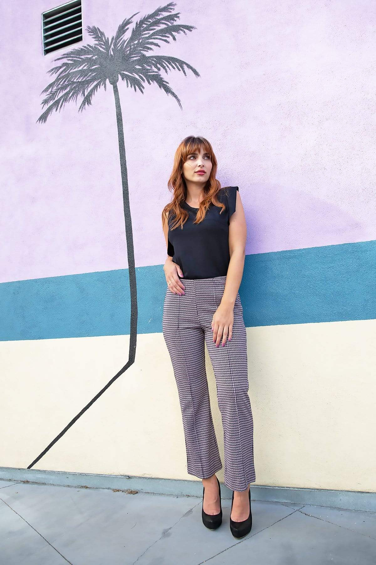 Eva Franco Pants Houndstooth Flare Pants