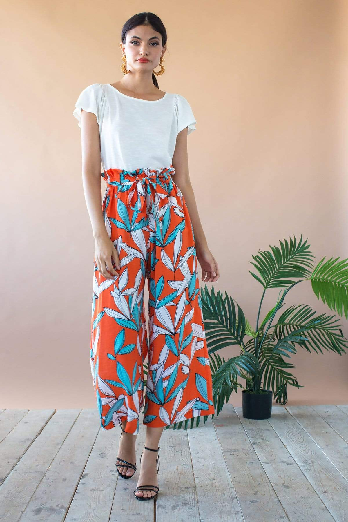 Eva Franco Pants Lukas Cropped Wide Leg Pant With Paperbag Waist- Rio Flora