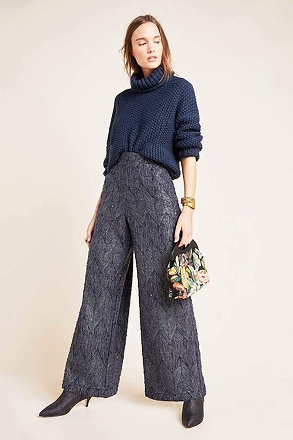 Slate Jacquard Wide Leg Trousers