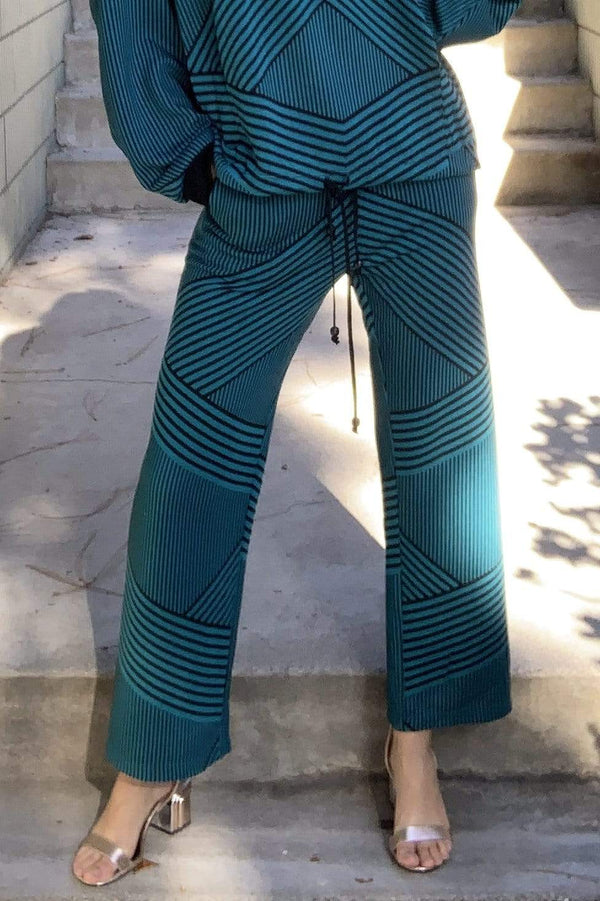 Eva Franco Pants Teal and Black Brit Wit Jogger Pant