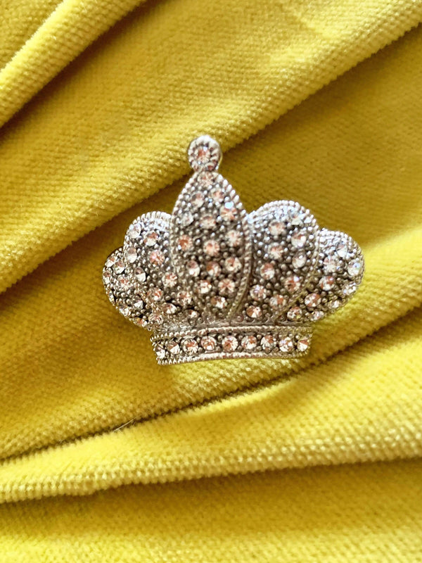 Crown Rhinestone Brooch Pin - Eva Franco