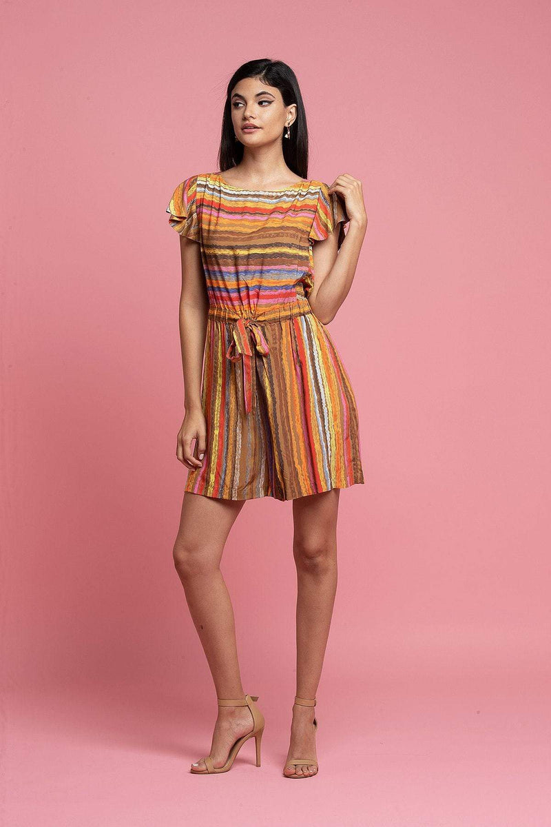 Carnival Multi Striped Romper - Eva Franco