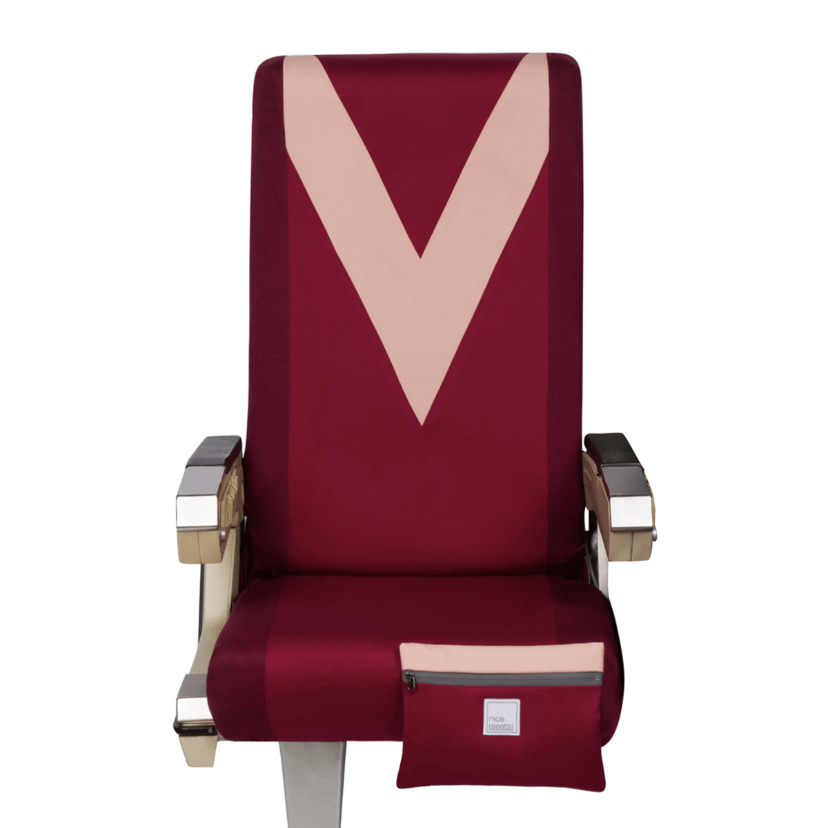 Eva Franco Seat Cover Airplane Seat Cover in Bordeaux & Chevron - Free Mask with Purchase