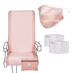 Eva Franco Seat Cover Airplane Travel Set in Blush - Seat Cover, Adult Mask & 2 Filters