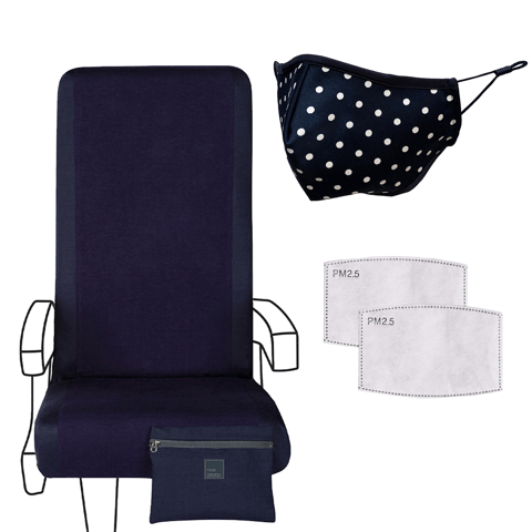 Eva Franco Seat Cover Airplane Travel Set in Inky Blue Navy - Seat Cover, Adult Mask & 2 Filters