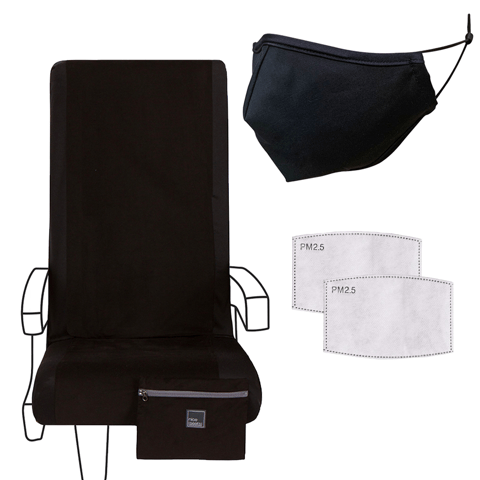 Eva Franco Seat Cover Airplane Travel Set in Not So Basic Black - Seat Cover, Adult Mask & 2 Filters