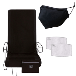 Airplane Travel Set in Not So Basic Black - Seat Cover, Adult Mask & 2 Filters