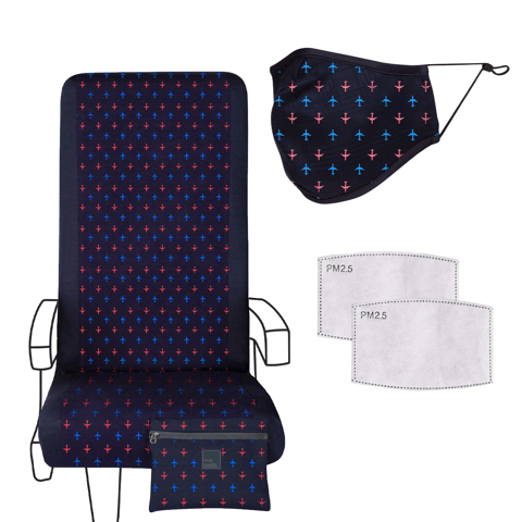 Eva Franco Seat Cover Flying High Print Travel Set - Airplane Seat Cover, Adult Mask & 2 Filters