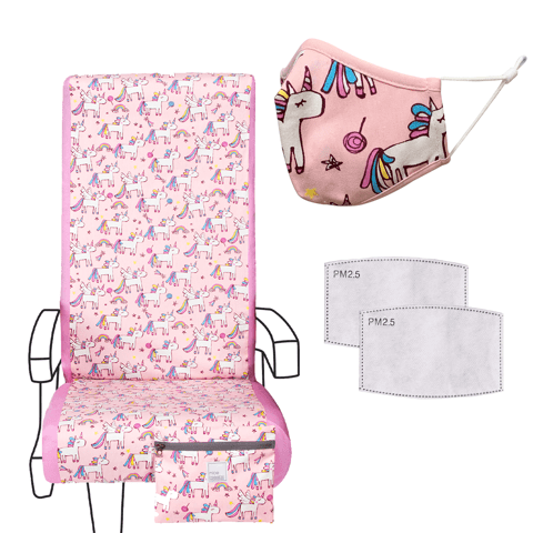 Eva Franco Seat Cover Airplane Travel Set in Unicorn Party - Seat Cover, Kids Mask & 2 Filters
