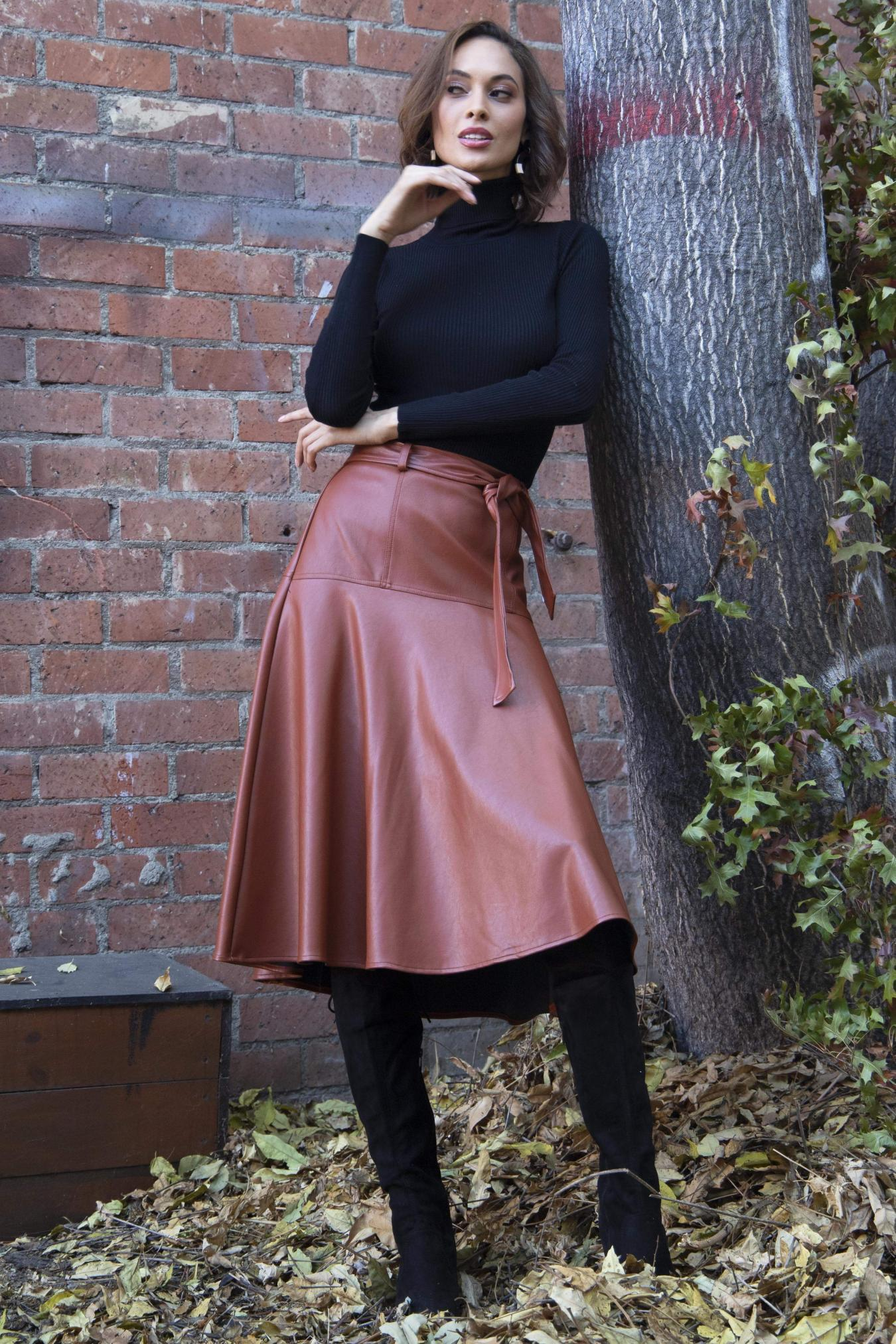 Eva Franco Skirt Allas Skirt in Chestnut