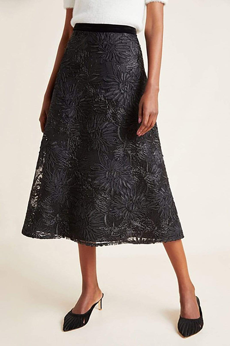 Eva Franco Skirt Black Floral Textured Skirt