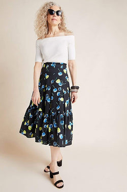 Eva Franco Skirt Cherry Ruffle Skirt