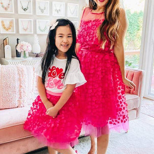 Melody  Fuschia Petal tulle Skirt  - Girls