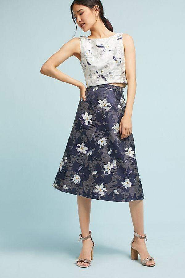 Jacquard Floral Top & Skirt Set