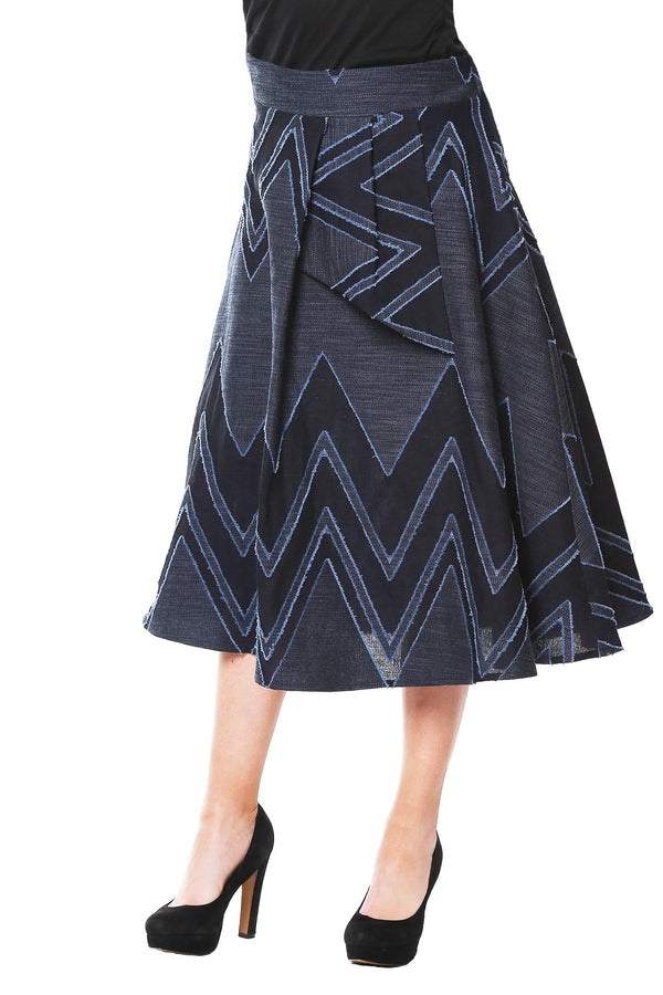 Liv Skirt - Denim Chevron - Eva Franco