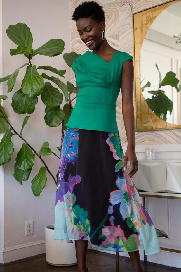 Floral Midi Skirt - Orchid Bloom 1