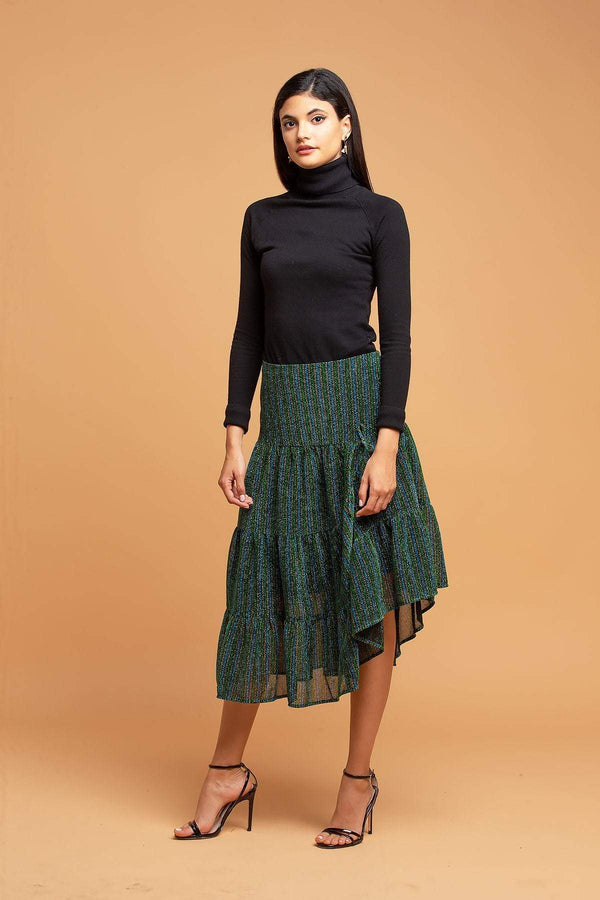 Metallic Striped Skirt - Eva Franco