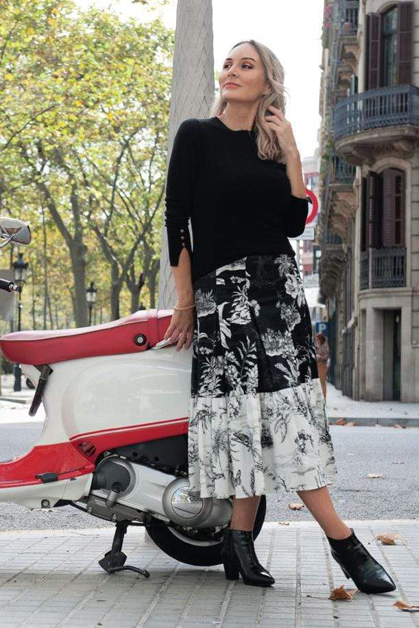Eva Franco Skirt Paola Floral Flounced Skirt