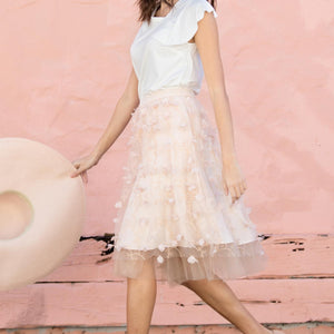 Peach Petal Fluttered Fete Tulle Skirt