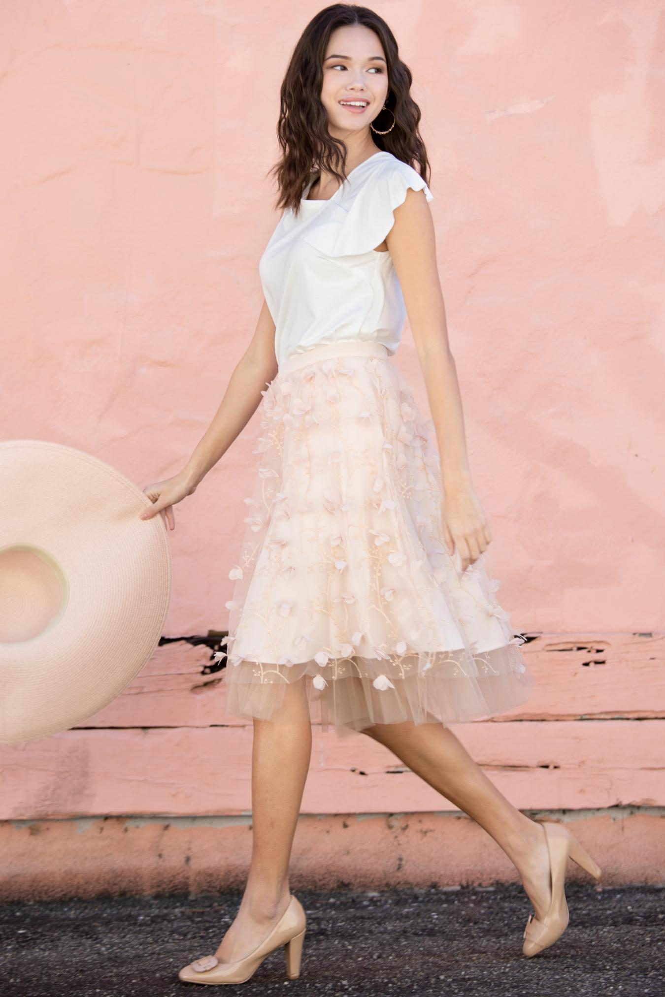 Eva Franco Skirt Peach Petal Fluttered Fete Tulle Skirt