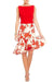 Eva Franco Skirt Red Floral Jacquard Ruffle Skirt