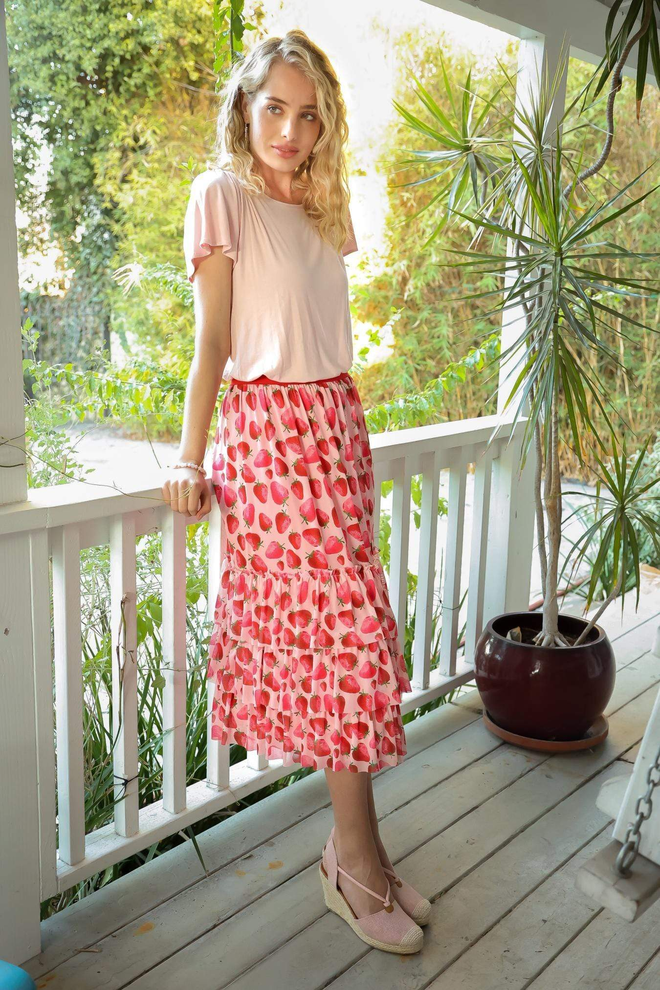Eva Franco Skirt Strawberry Midi Flounced Summer Skirt PRE-ORDER