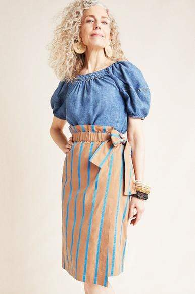 Striped Chino Midi Skirt