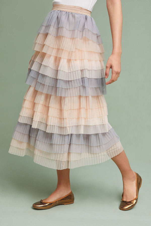 Tiered Tulle Midi Skirt - Eva Franco