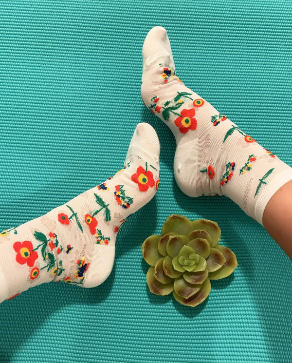 Aster Floral Cream Socks - Eva Franco