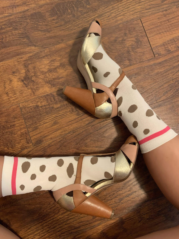 Polka Dot Pink & Chocolate Socks - Eva Franco