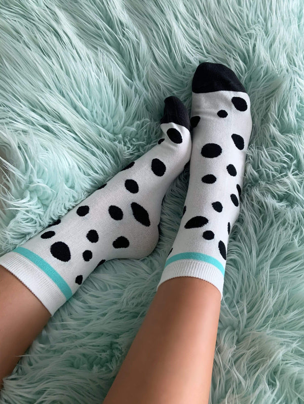 Polka Dot Teal & Black Socks - Eva Franco