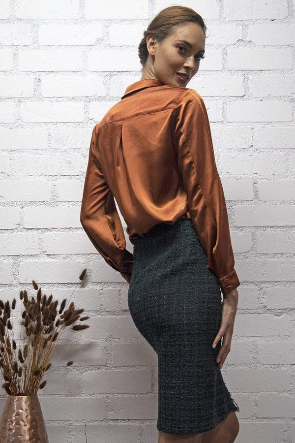 Bella Copper Satin Blouse