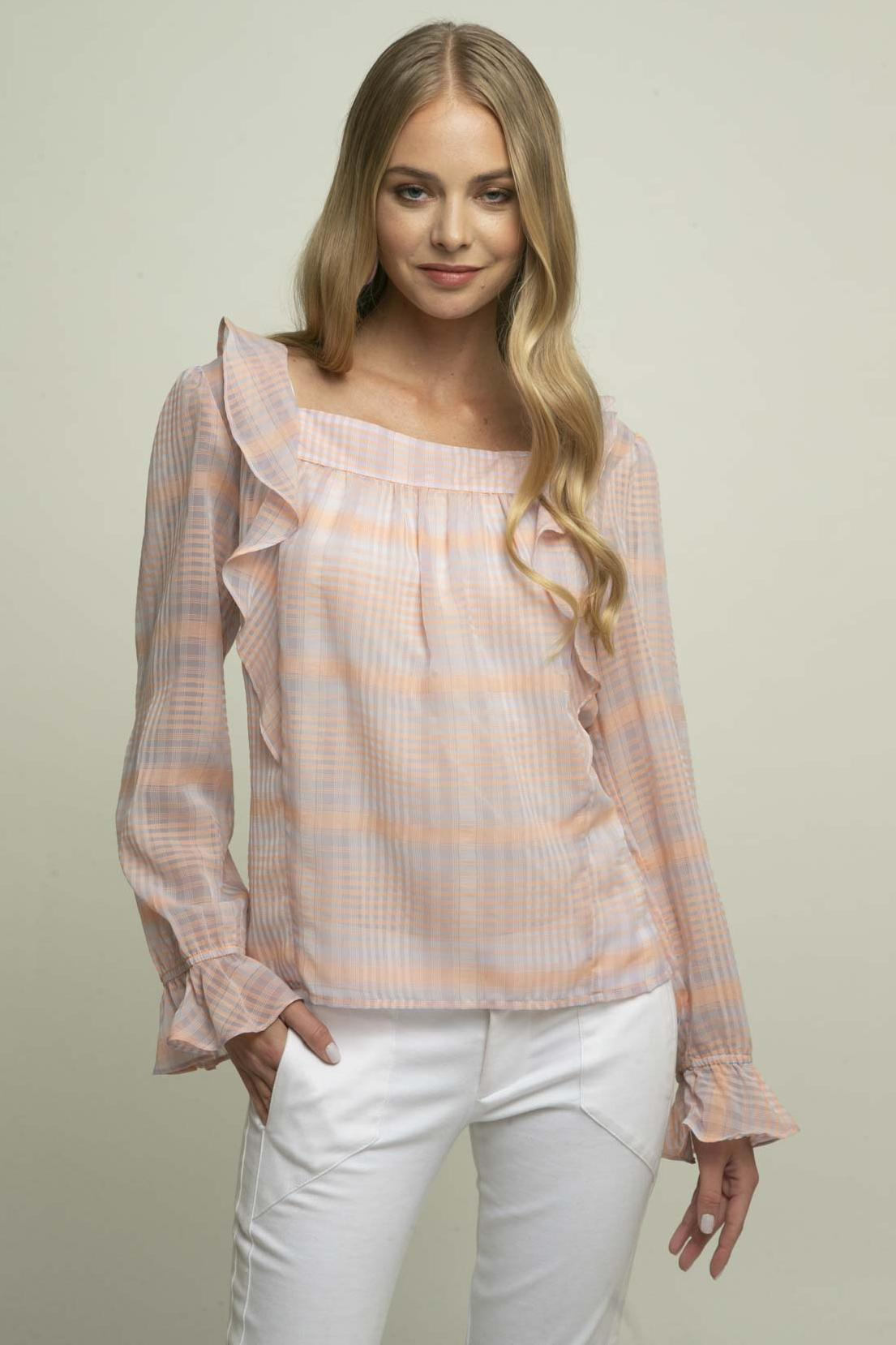 Eva Franco Top Brittany Blouse - Cotton Candy Plaid