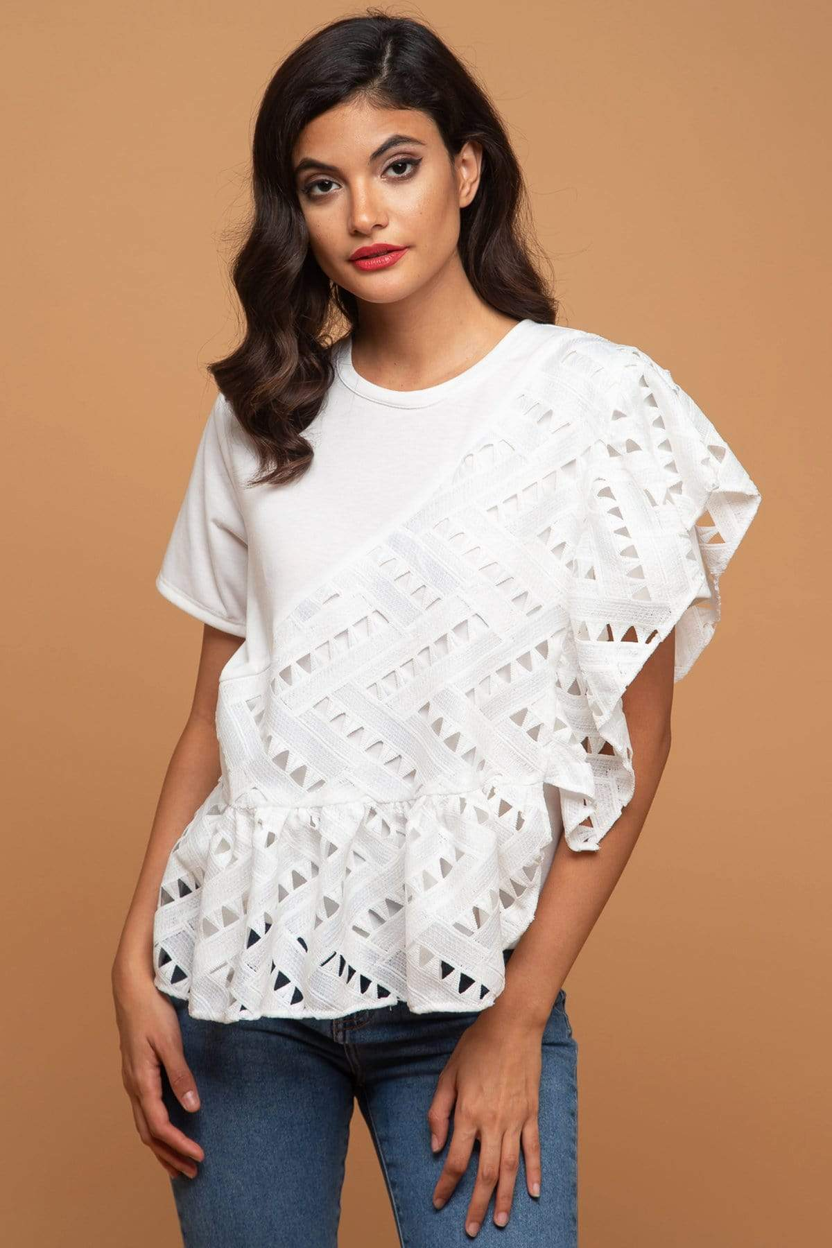 Eva Franco Top Cleo Asymmetrical Ruffled Overlay Top - White Nights Cutwork Lace