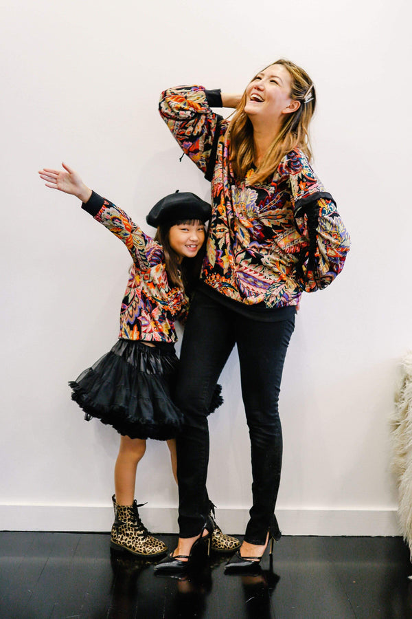 Eva Franco Girls Clyde Sweatshirt  in our Printed Paisley Damascus Knit - Girls