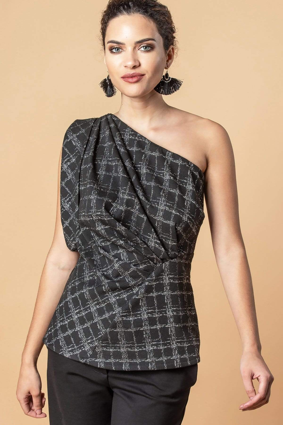 Eva Franco Top Daphne Top in Silver Plaid