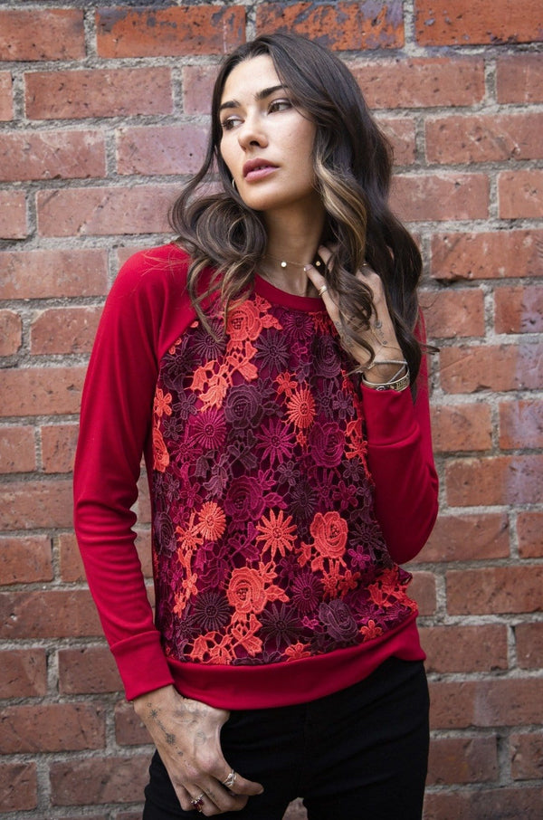Eva Franco Top Emma Sweater in Burgundy Lace