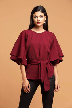 Eva Franco Laszlo  Textured knit Top - burgundy - Eva Franco