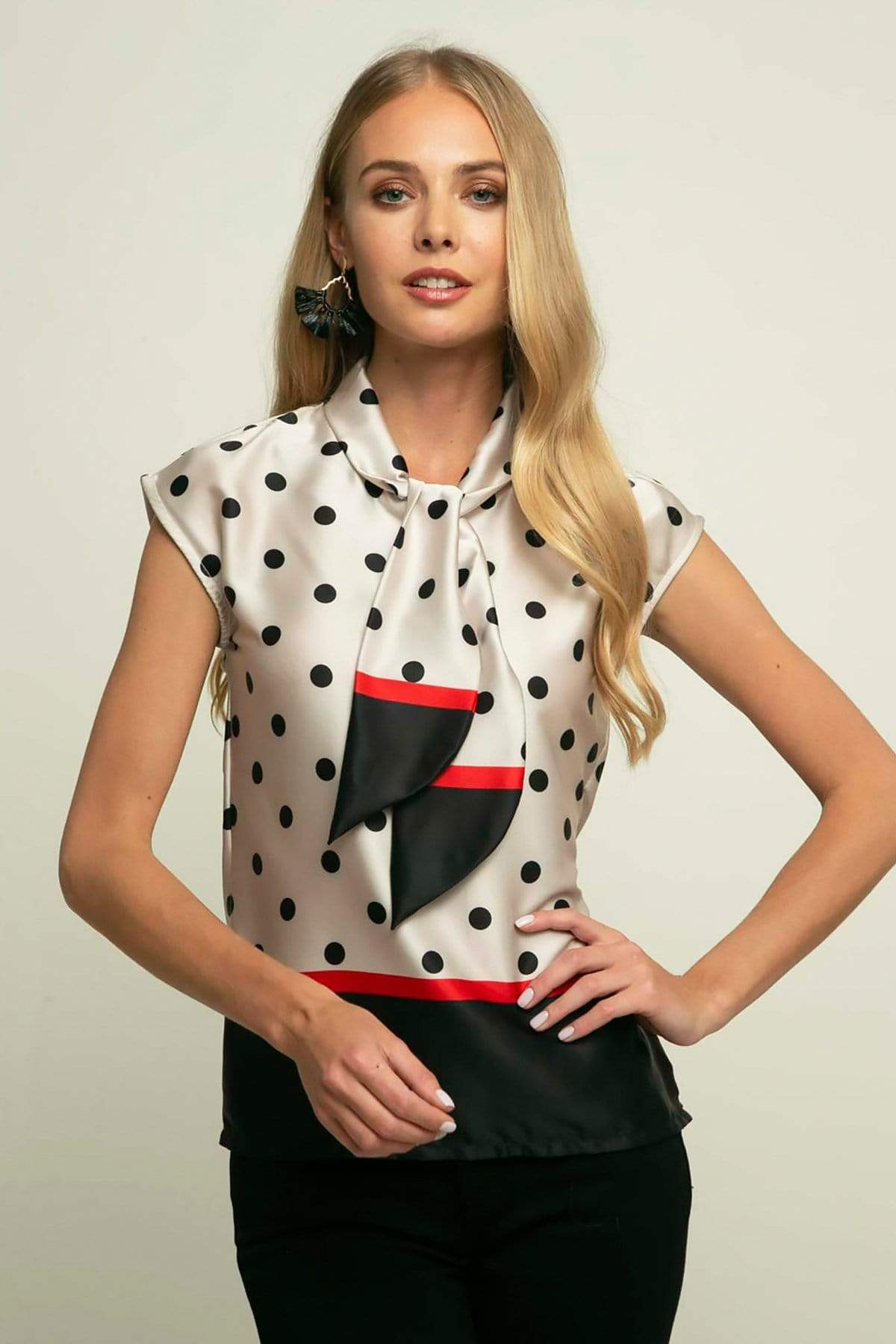 Eva Franco Top Hanna Satin Top in Black and Cream Polka Dots