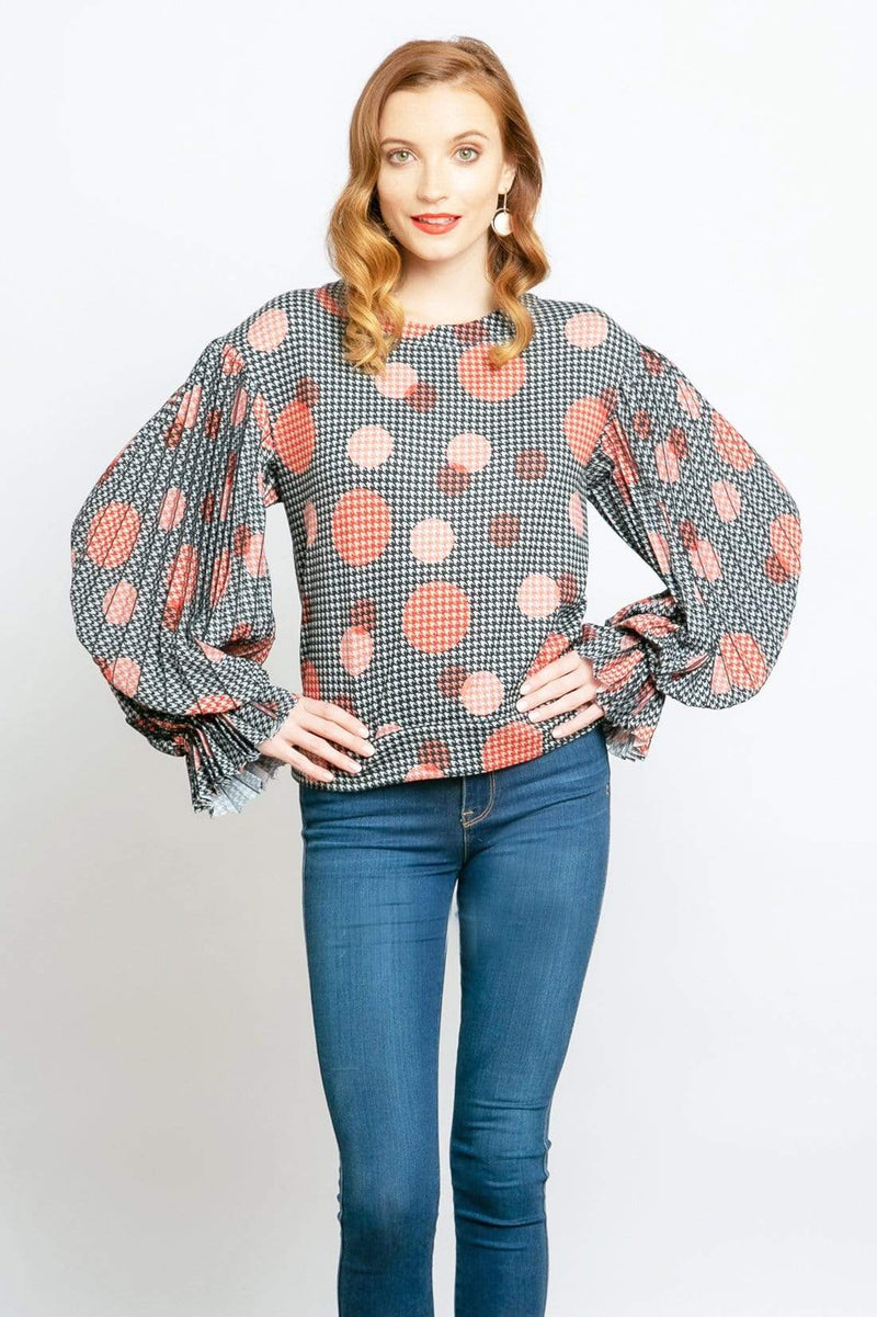 Hart Pleated Sleeve  Top in Congo Dot