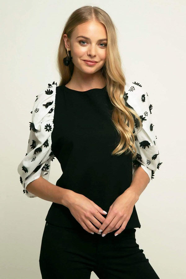 Eva Franco Top Juliette Knit Top - Black Forest