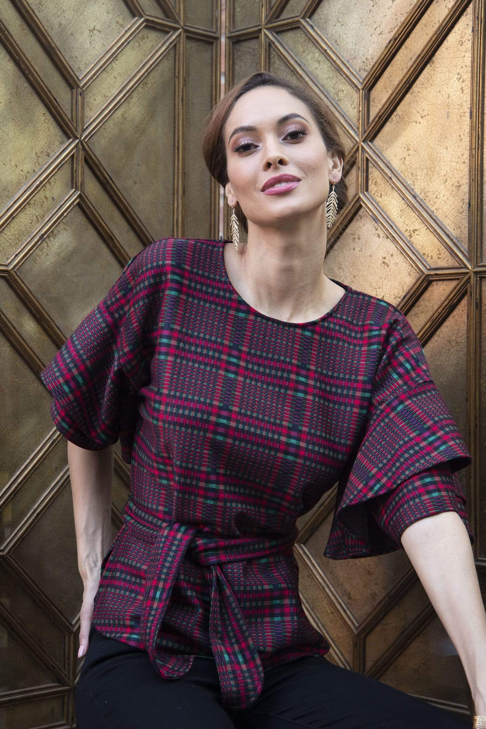 Eva Franco Top Laszlo Top in Tartan Plaid