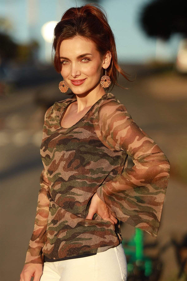 Meredith Camo Top - Eva Franco