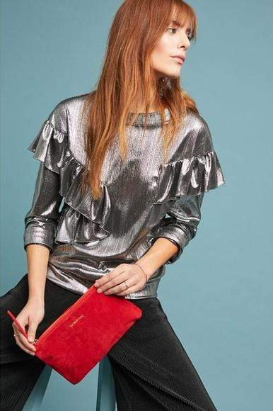Eva Franco Top Metallic Top in Liquor Silver