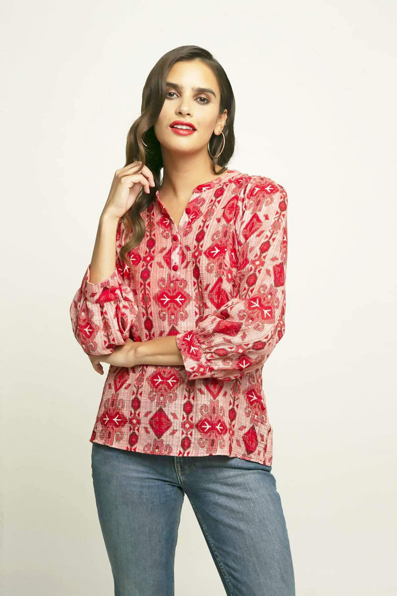 Eva Franco Top Neem Blouse in Lingonberry Pie
